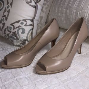 Cole Haan Grand OS Nude Open Toe Leather Heels
